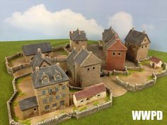 European Town Terrain Base by Crescent Root ~ WWPD: Your Source For All Things Flames of War! Train Info, D Day Normandy, Chain Of Command, Game Terrain, Wargaming Terrain, Military Diorama, Train Layouts, Model Building, Classic Toys