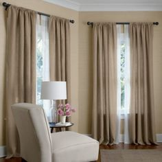 Pair of Curtain drapery panels, 100% linen, OATMEAL 50 x 108 inches UNLINED. $260.00, via Etsy.