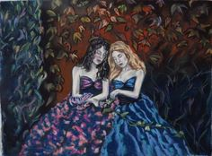 Buy Sister nymphs, Pastel drawing by Anna  Sasim on Artfinder. Discover original art for sale, paintings, prints from independent artists.Soft pastel art on Pastelmat paper,  woman drawing, woman painting.