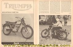 1966 Triumph Mountain Cub T20 Road Test 3-Page Article  ...Here are a few points of interest that our test riders noticed: no ignition switch; only a kill-button for the magneto ignition. No battery. Seat is remarkably comfortable. Kickstart lever is located too close to muffler causing the heel to hit it. Non-folding footpegs. Air cleaner seems quite efficient. Tires are held in place by large security bolts...