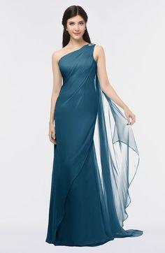 8c1b00a72f17 Moroccan Blue Elegant Asymmetric Neckline Sleeveless Zip up Floor Length  Bridesmaid Dresses Black Bridesmaid Dresses,