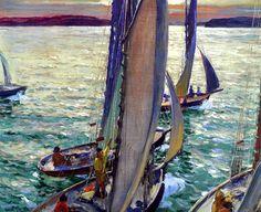 """""""Jonas Lie (Norwegian/American, 1880-1940), Beyond, 1919. Oil on canvas, 30.25 x 50 in. """""""