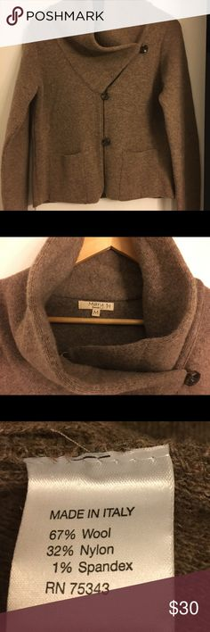 Italian Wool Cardigan/Jacket Cozy wide collar, heavy & super warm cardigan made in Italy. Always thoughtfully wrapped & ready to ship the day of sale! Firenze Sweaters Cardigans