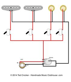 2 single Coils, 2 Piezos, 1 Vol, 4 mini on-off switches | Ted Crocker's Mad Scientist Lab Wiring Diagrams & Schematics - Cigar Box Nation