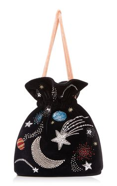 Les Petits Joueurs - Trilly Universe Pouch on Moda Operandi Diy Fashion, Fashion Bags, Fashion Accessories, Beaded Embroidery, Hand Embroidery, Embroidered Bag, Beaded Bags, Cute Bags, Handmade Bags