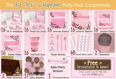 Baby Cherry Blossom Baby Shower Party Pack