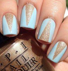 Blue gold glitter nails