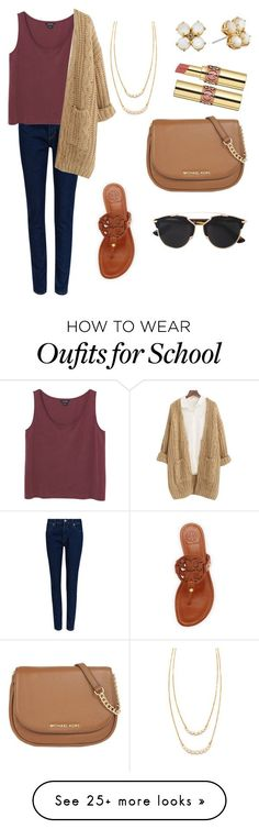 """ew school tom"" by jazmintorres1 on Polyvore featuring Kate Spade, M&S Collection, Monki, Chicnova Fashion, Tory Burch, MICHAEL Michael Kors, Christian Dior, Yves Saint Laurent, women's clothing and women"