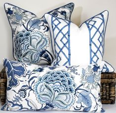 Blue and white floral classic Hamptons style cushion Jacobean floral pillow cover blue and white accent throw coastal home decor Blue and white floral classic Hamptons style cushion Jacobean Blue And White Living Room, Floral Pillows, Classic Cushions, Blue And White Fabric, Floral Pillow Cover, Classic Cushion Covers, Blue White Decor, Blue And White, Hamptons Style Decor