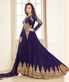 Buy Dia Mirza Blue Georgette Designer Anarkali Suit 77261 online at lowest price from huge collection of salwar kameez at Indianclothstore.com.