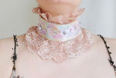 Painted satin and beige lace ruffle collar with glass beads / Watercolor painting on fabric / Unique Victorian style collar / Textile art Victorian Collar, Victorian Fashion, Ruffle Collar, Lace Ruffle, Handmade Art, Handmade Jewelry, Handmade Gifts, Fabric Painting, Watercolor Painting