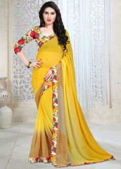Gorgeous yellow chiffon printed saree