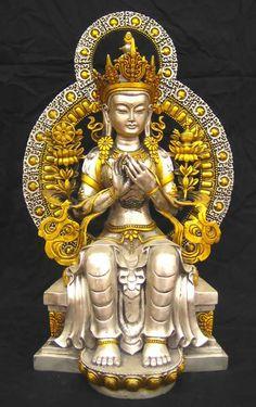 Statue représentant Maitreya - Tibet Tibet, Maitreya Buddha, Buddhist Art, Deco, Antiques, Statues, Gold, Mandalas, Tibetan Buddhism