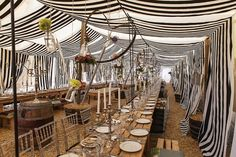 Love the use of the white taper candles in this cool black & white striped wedding tent Wedding Decorations Pictures, Tent Decorations, Zulu Traditional Wedding, Traditional Decor, Tent Wedding, Rustic Wedding, Wedding Reception, Reception Ideas, Wedding Blog