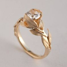 Diamond Wedding Rings : Leaves Engagement Ring No. 7 - Gold and Diamond engagement ring, engagement . - Buy Me Diamond Leaf Engagement Ring, Antique Engagement Rings, Antique Rings, Vintage Rings, Antique Jewelry, Vintage Jewelry, Antique Art, Unique Vintage, Engagement Bands