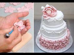 Ruffle Cake - How to make a beautiful and easy fondant ruffle cake. Tutorial by Cakes StepbyStep. - YouTube