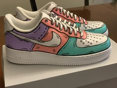 Custom sneakers Nike Air Force 1 'Red dragon х The Great Wave off Kanagawa' Jordan Shoes Girls, Girls Shoes, Shoes Women, Cute Girl Shoes, Cute Sneakers, Sneakers Nike, Adidas Shoes, Nike Trainers, Souliers Nike