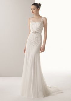 SOFT BY ROSA CLARA Boat Neck Sheath Dress In Tulle A Neckline Wedding