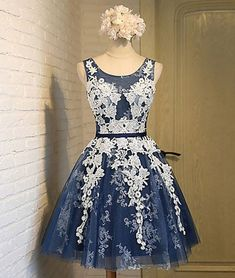 Cute A-Line Round Neck Dark Blue Lace Tulle Short Homecoming Dress with Appliques
