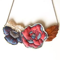 Quilted textile necklace