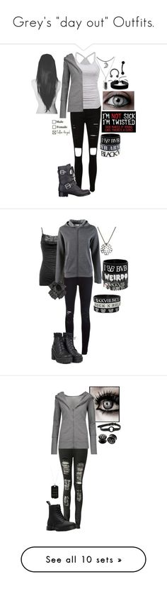 """""""Grey's """"day out"""" Outfits."""" by grey-daray ❤ liked on Polyvore featuring American Eagle Outfitters, Norma Kamali, GUESS, GET LOST, Simons, Hot Topic, Wet Seal, Closed, UNIF and Boohoo"""