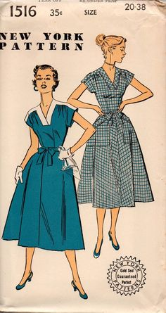 New York 1516 Retro 1950s Back Wrap Dress Vintage Sewing Pattern Size 20 Bust 38 inches UNUSED Factory Folded
