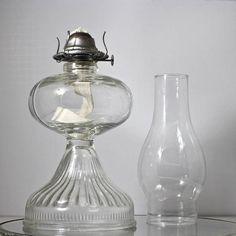 Vintage Glass Kerosene Oil Lamp