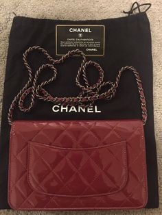 Authentic Chanel Patent Quilted Leather Wallet On Chain Woc Bag Red