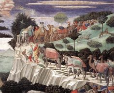 1459-60.Procession of the Oldest King.Benozzo Gozzoli.Fresco Chapel,Palazzo Medici-Riccardi, Florence.The Procession of the Magi (The Journey of the Magi to Bethlehem)