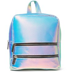Skinnydip Iridescent Molly Backpack (2,800 INR) ❤ liked on Polyvore featuring bags, backpacks, backpack, accessories, blue backpack, knapsack bag, rucksack bags, blue bag and day pack backpack