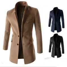 Men s Clothing Coats Jackets Trench Hot selling boys slim wool coat three dimensional slim overcoat