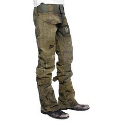 Mens JUNKER Designs - CALL OF DUTY Custom Army Pants made from vintage army canvas material pieced together along with buckles and straps to make these incredible pants. Each one is made to order by hand and will vary slightly. Exposed zipper on the front adds a great look and detail.  Great pants for vintage motorcycle or rat rod rides.
