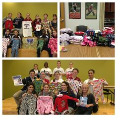 56 members of Eastern's softball and track teams collected 75 pairs of pajamas and $450 in donations to present to the local chapter of the local pajama program.