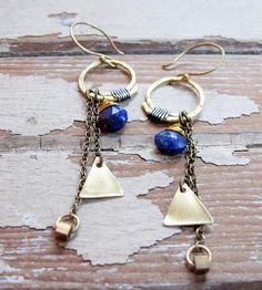 Lapis Chain Drop Earrings