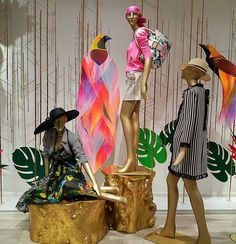 "SAKS FIFTH AVENUE, Eaton Centre, Toronto, Canada, ""Birds of Paradise Part One"", pinned by Ton van der Veer Eaton Centre, Window Display Design, Clothing Displays, Text On Photo, Store Windows, Pop Up Shops, Window Art, Store Displays, Toronto Canada"