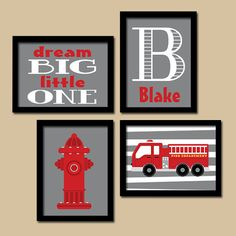 Fire Truck Wall Art Nursery Decor Canvas Or Prints Boy Bedroom Fireman Artwork Gift Set Of 4
