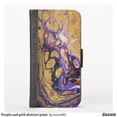 Purple and gold abstract paint iPhone wallet case Iphone Wallet Case, Card Wallet, New Iphone, Apple Iphone, Phone Card, Unique Iphone Cases, Camera Case, Purple Gold, Abstract