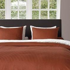 Dekbedovertrek Heckett & Lane Refined Uni Stripe Mecca Orange Satijn