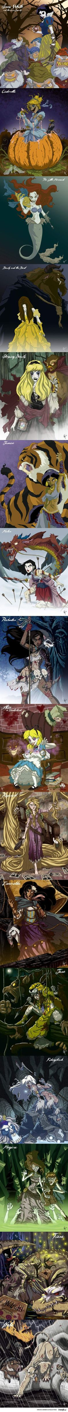 Disney Princesses Zombie style! awesome