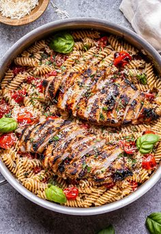 Tomato Basil Pasta with Balsamic Grilled Chicken Summer Pasta Recipes, Pesto Pasta Recipes, Grilled Chicken Recipes, Pasta Recipies, Balsamic Grilled Chicken, Chicken With Italian Seasoning, Tomato Basil Pasta, How To Cook Pasta, Main Dishes