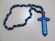 Unofficial Inspired by Minecraft Sword Diamond Kandi Necklace // minecraft party favor // kindi edm rave necklace on Etsy, $5.00