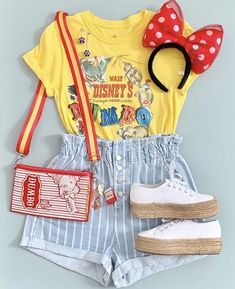 Cute Disney Outfits, Disney World Outfits, Disney Themed Outfits, Disneyland Outfits, Cute Outfits, Emo Outfits, Disney Inspired Fashion, Disney Fashion, Yellow Shirts