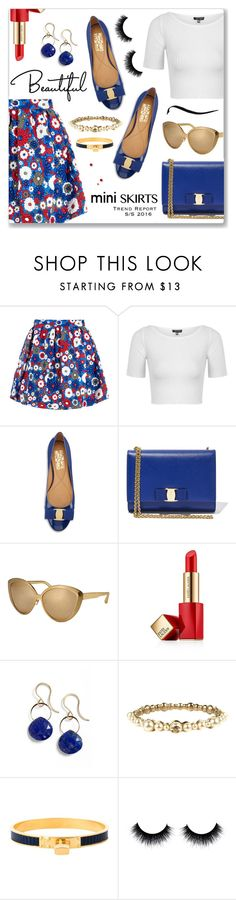 """Mini Me: Cute Skirts"" by dressedbyrose ❤ liked on Polyvore featuring House of Holland, Topshop, Salvatore Ferragamo, Linda Farrow, Estée Lauder, Melissa Joy Manning, Chanel, Hermès, MINISKIRT and polyvoreeditorial"
