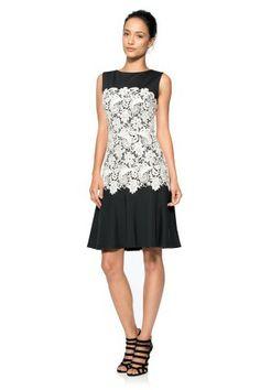 Tadashi Shoji Contrast Lace A-Line Dress