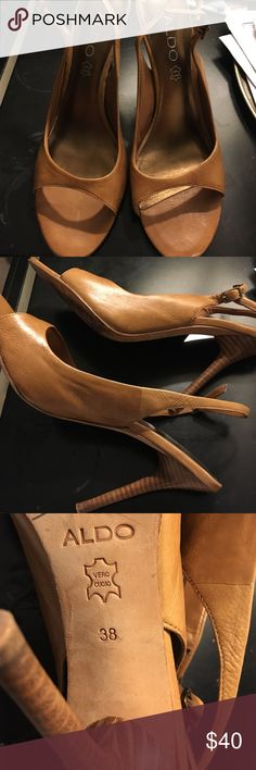 Aldo honey heels Honey color, leather heels in great condition, sexy summer shoes. ALDO Shoes Heels