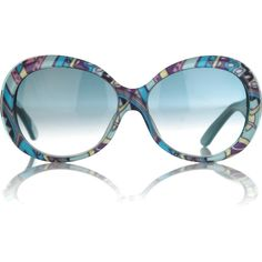 Emilio Pucci Printed oval sunglasses ($375) ❤ liked on Polyvore featuring accessories, eyewear, sunglasses, glasses, óculos, emilio pucci, emilio pucci sunglasses, emilio pucci glasses, thick glasses and colorful glasses