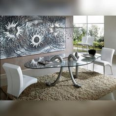 Обеденный стол и панно от Roncato #roncato #accessories #table #decorative_panel #стол #панно #предметы_интерьера