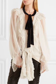 Off-white silk-crepon, black velvet  Button fastenings through front 100% silk Dry clean Made in France As seen in The EDIT magazine