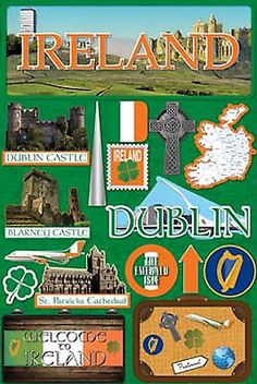 Reminisce 3-D LAYERED Stickers-IRELAND scrapbooking DUBLIN CASTLES EMERALD ISLE