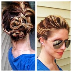 Womens hairstyle / Updo / French braid / bohemian updo / long hair / blonde hair / balayage highlights / braided updo / braid / braids